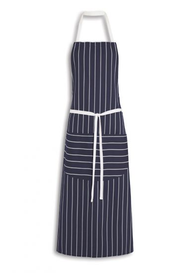 Striped bib apron with pocket