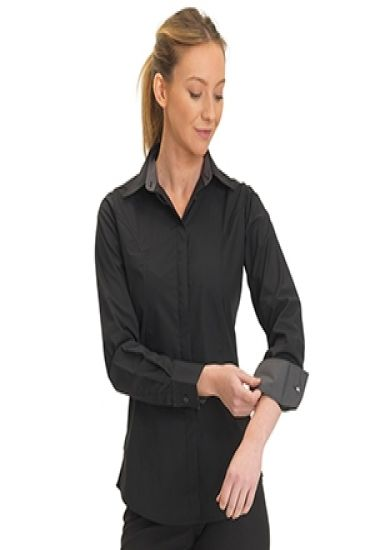 Ladies stretch slim fit shirt with grey contrast