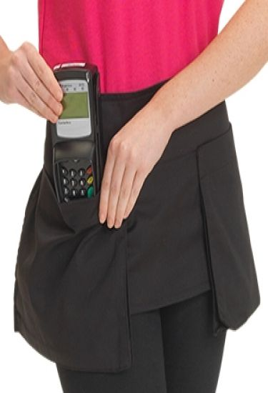 Big pocket waist apron in black polycotton