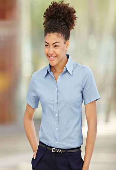 LADY-FIT SHORT SLEEVE OXFORD SHIRT