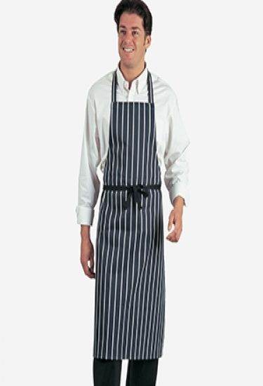 Navy printed striped apron
