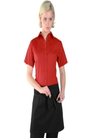 Denny's narrow short black bar apron