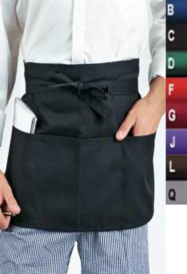 Money pocket aprons with self material ties