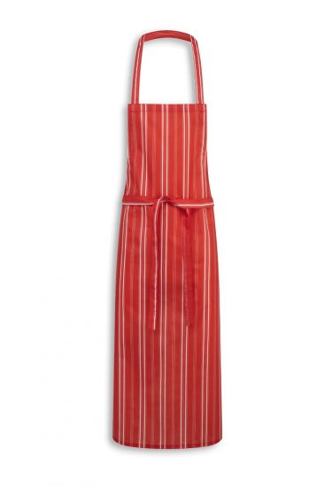 Red/white stripe bib apron