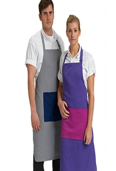 Bib apron with colour pocket