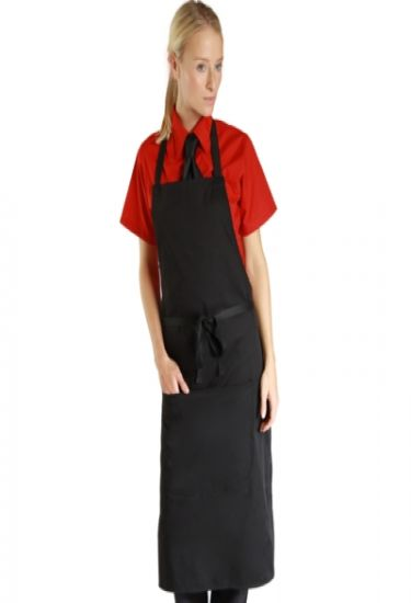 Denny's narrow black bib apron with pocket