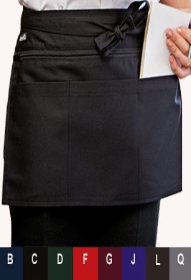 Zipped money pocket apron in 8 colours